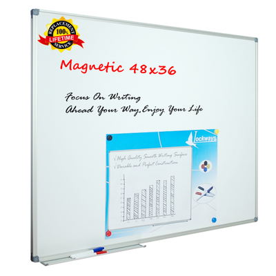 Lockways White Board Dry Erase Board 48 x 36 - Magnetic Whiteboard 4 X 3, Silver Aluminium Frame, Set Including 1 Detachable Aluminum Marker Tray, 3 Dry Erase Markers, 8 Magnets